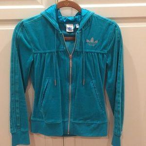 Adidas turquoise classic track suit jacket/pants